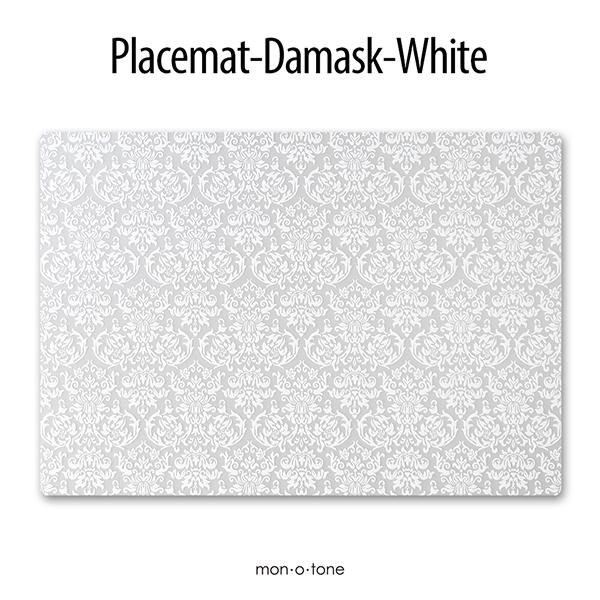 テーブルクロスの色が活かせるテーブルマット 汚れたらサッと水拭きできます monotone モノトーン メーカー在庫限り品 白黒 25%OFF デザイン ランチョンマット ダマスク A3 プレースマット ホワイト シンプル