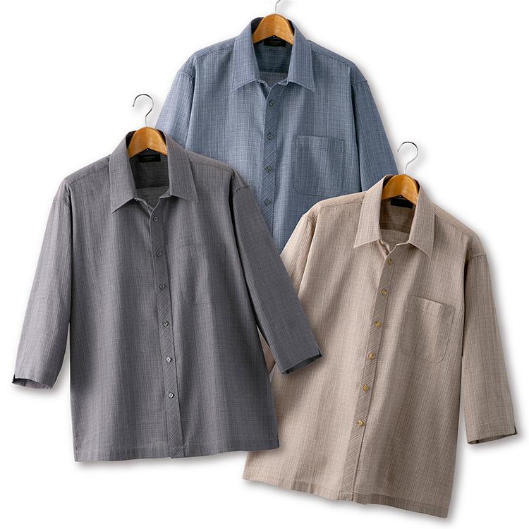 【大感謝価格 】Pierucci ピエルッチ しじら織りさわやか7分袖シャツ3色組 NE-2032 M/L/LL ブルー系+ベージュ系+グレー系