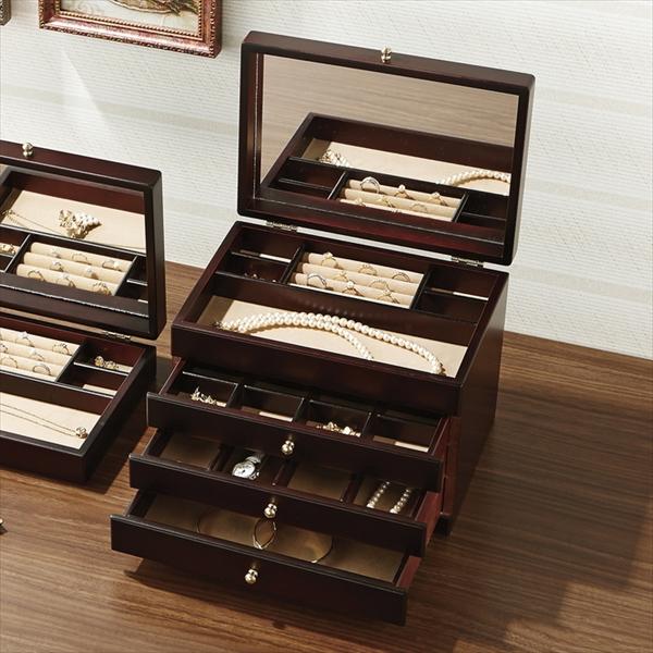 大感謝価格『Wooden Case(ウッデン・ケース) 木製ジュエルケース(3ツ引) 17-806 (346シリーズ)』『メーカー直送品。代引不可・同梱不可・返品キャンセル・割引不可』アクセサリー 小物 収納 日本製 シンプル デザイン インテリア アイテム送料無料