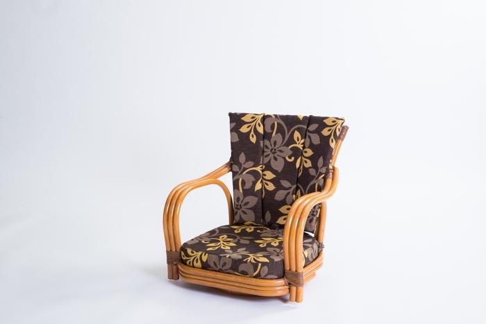 【メーカー直送・大感謝価格】ラタン 回転椅子 GNM17L ロータイプ 約56×56×55cm 座面高さ15cm 6.5kg 籐100%