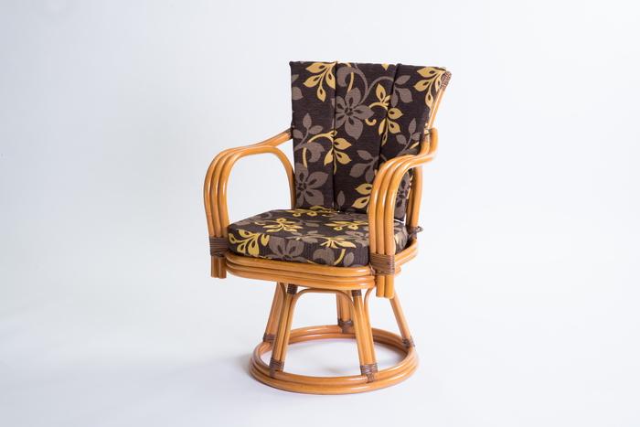 【メーカー直送・大感謝価格】ラタン 回転椅子 GNM17H ハイタイプ 約56×56×81cm 座面高さ41cm 7.2kg 籐100%