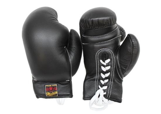 【メーカー直送・大感謝価格】日本拳法防具 日本拳法グローブ(黒) 8オンス 紐式 N-18 明倫産業