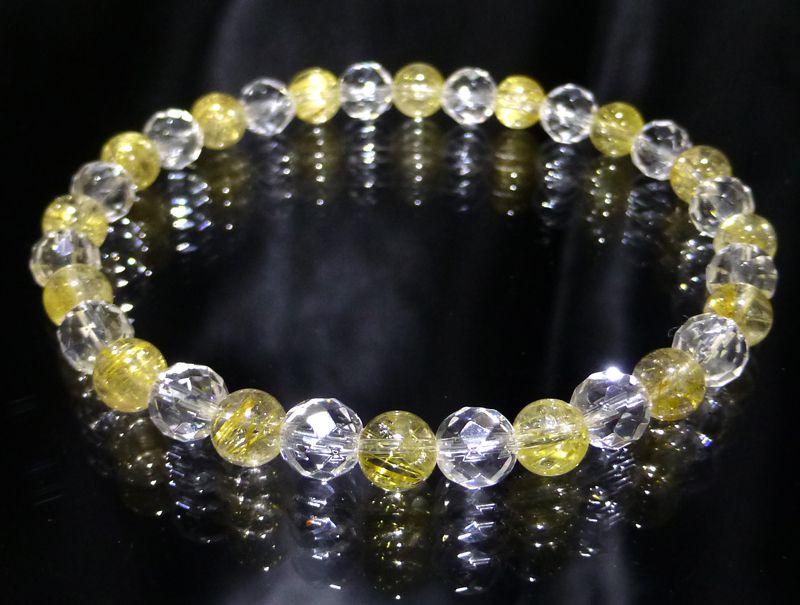 『『FORESTBLUE』ゴールドルチル&水晶 ブレスレット 6mm Type2』ファッション 天然石 ブレスレット 腕輪 送料無料 ポイント10P03Dec16