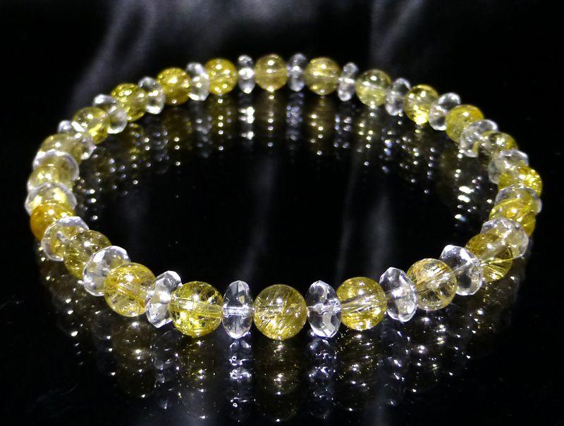 『『FORESTBLUE』ゴールドルチル&水晶 ブレスレット 6mm Type4』ファッション 天然石 ブレスレット 腕輪 送料無料 ポイント10P03Dec16