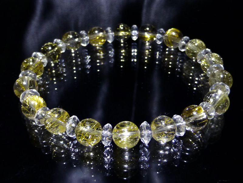 『『FORESTBLUE』 ゴールドルチル&水晶 ブレスレット 8mm Type4』ファッション 天然石 ブレスレット 腕輪 送料無料 ポイント10P03Dec16