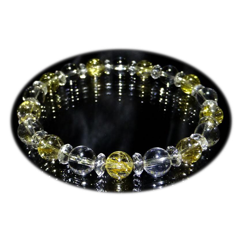 『『FORESTBLUE』ゴールドルチル&水晶 ブレスレット 8mm Type1』ファッション 天然石 ブレスレット 腕輪 送料無料 ポイント10P03Dec16