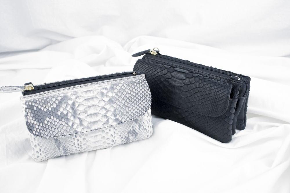 【大感謝価格 】Costoroma ダイヤモンドパイソン ポーチウォレット ナチュラル/ブラック