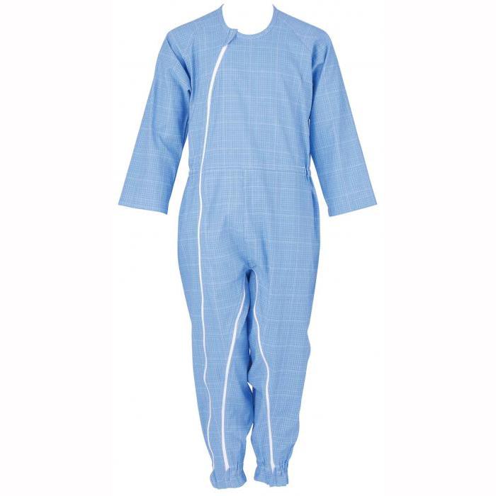 大感謝価格『介護つなぎ服(前開き) 403420 ブルー M』介護服 寝巻き 介護用パジャマ つなぎ 抗菌 消臭『介護つなぎ服(前開き) 403420 ブルー M』