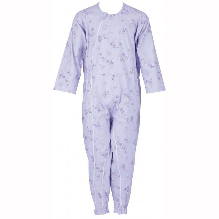 大感謝価格『介護つなぎ服(前開き) 403420 パープル L』介護服 寝巻き 介護用パジャマ つなぎ 抗菌 消臭『介護つなぎ服(前開き) 403420 パープル L』