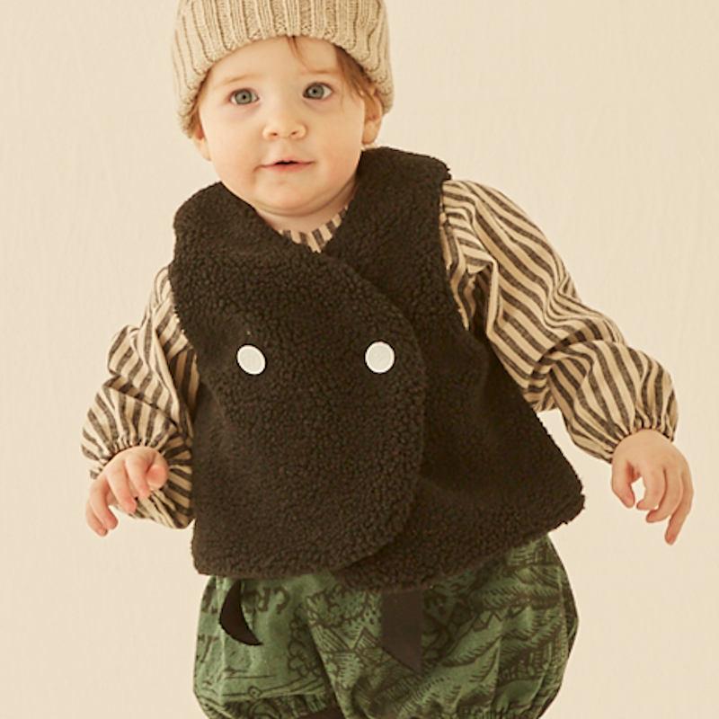 与え eLfinFolk エルフィンフォルク 2021AW Zebra fur vest ゼブラ柄ファーベスト 110cm サービス 130cm 正規品 女の子 春夏 子供服 子供 かわいい おしゃれ 男の子 キッズ 上品