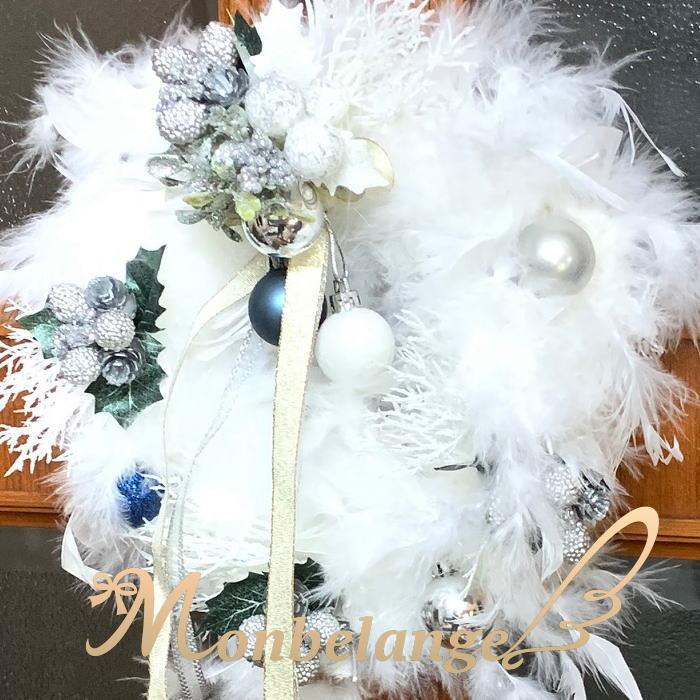 インテリアにぴったり クリスマスリース 激安超特価 リース フェザーシルバー クリスマス ふわふわ 羽根 プレゼント 定価 ファー インテリア