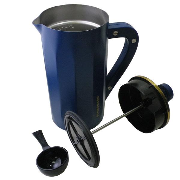 Starbucks STARBUCKS Starbucks ☆ coffee press French press pressure  extractor tableware dark blue cyan blue gold Shin pull cafe coffee beans  brand