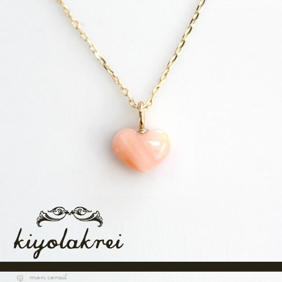 プチハート ネックレス(ピンク珊瑚)◆ハワイアン ピンク珊瑚 桃 サンゴ K10 10K 10金 プレゼント ハート ミニ プチ 海