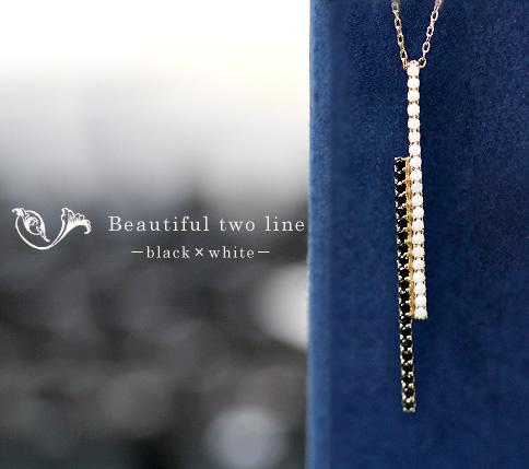 ブラックスピネル×白珊瑚ツーラインネックレス◆白珊瑚 サンゴ ダイヤモンド K10 10K 10金 プレゼント フォーマル 上品 シンプル