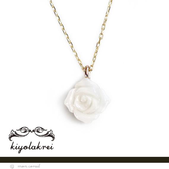 アンティークローズネックレス(白珊瑚)◆白珊瑚 サンゴ K10 10K 10金 プレゼント 薔薇 バラ レトロ 一粒