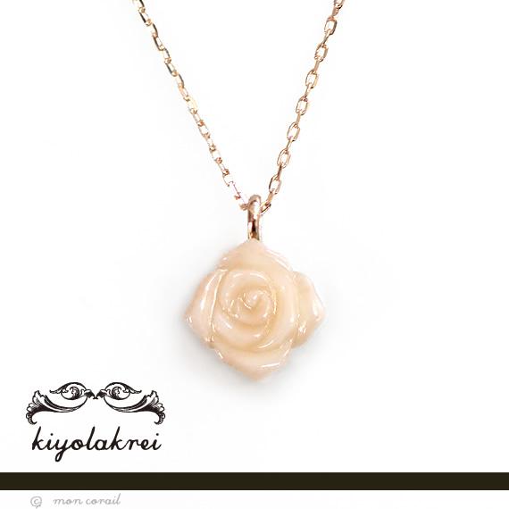 アンティークローズネックレス(ピンク珊瑚)◆ピンク珊瑚 サンゴ 桃 K10 10K 10金 プレゼント 薔薇 バラ レトロ 一粒