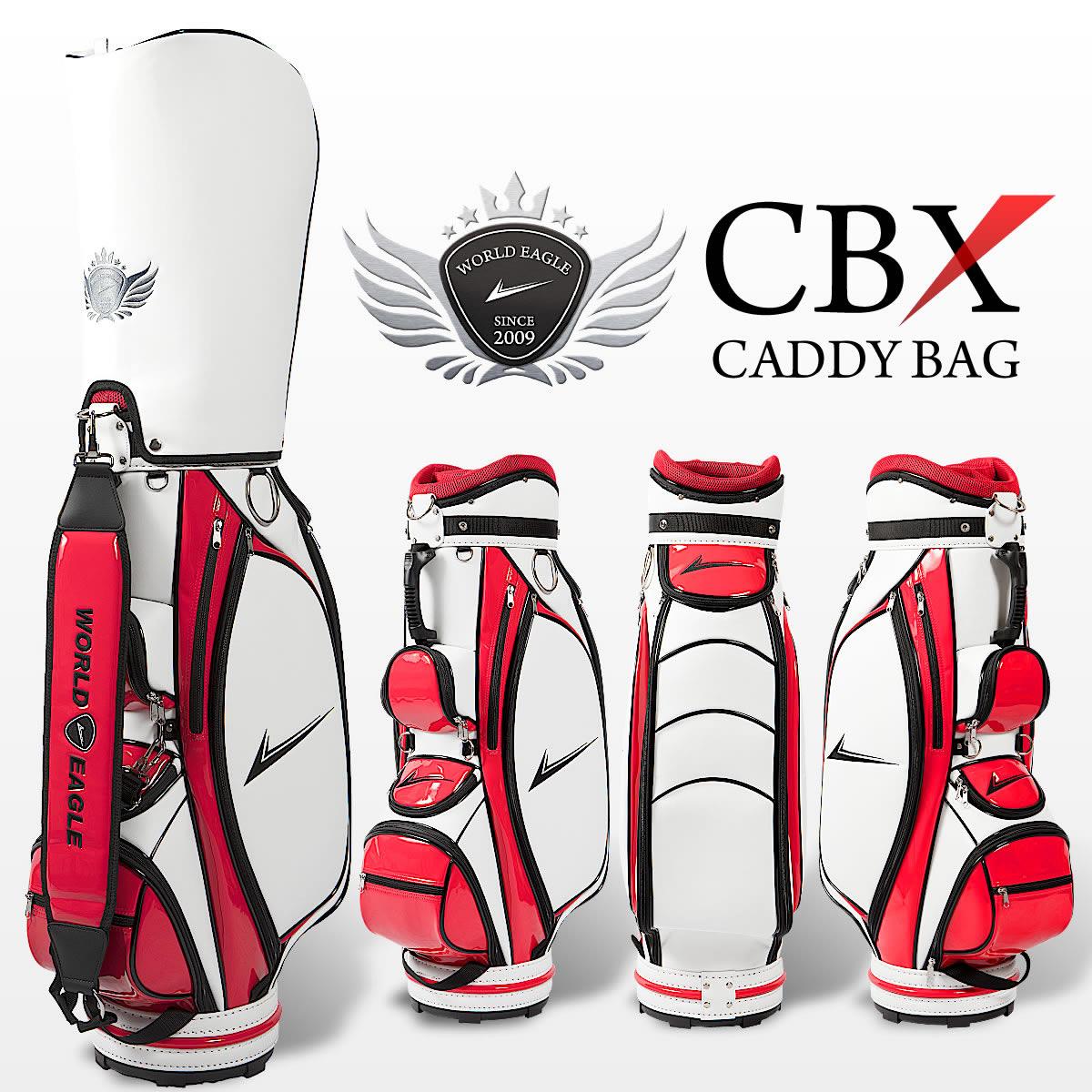 軽量ゴルフバッグ ワールドイーグル キャディバッグ ホワイト・レッド エナメルと刺繍がかっこいいカートバッグ 収納多数ポケット10箇所 ショルダーベルト、フードカバーあり【あす楽】