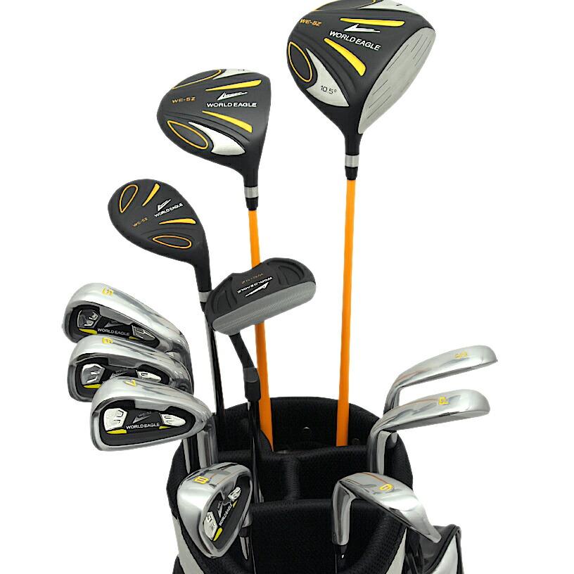 ワールドイーグル 5Z+F01αスタンドバック ブラック&ホワイトver メンズ14点クラブセット 右利き用【初心者 初級者 ビギナー】