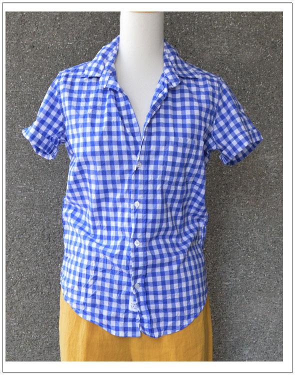 FRANK&EILEEN・フランク&アイリーンBILLY JEANギンガムチェック半袖シャツ【カラー】73・ブルー(611070482)