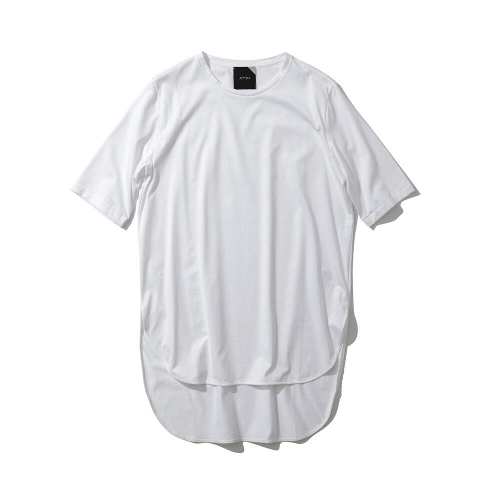 【再入荷】ATON/エイトンSUVIN60/2 / ラウンドヘムTシャツ (KKAGKM0016) 【カラー】WHITE BLACK BLUE【サイズ】2