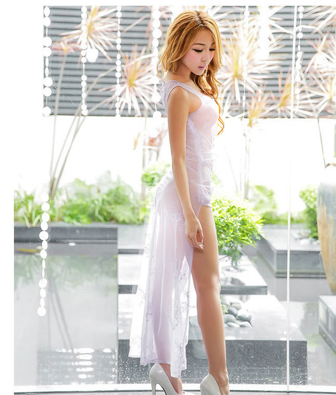 Small see-through long Camisole lingerie skirt size S M L large size sexy  sex toys mature woman slit into race intense sexy Chinese dress stripe  dress ...