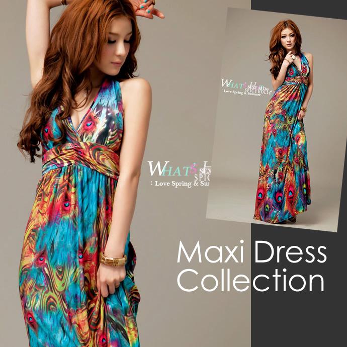 Large Maxi Resort Long One Piece Beach Dress Size S M L Y Padded Fl Blue