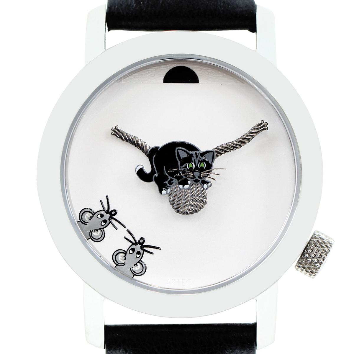 【全商品ポイント5倍】アクテオ AkTEO 腕時計 34mm BLACk CAT 時計 ブラック フランス製
