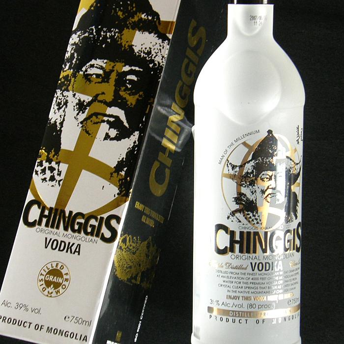 成吉思汗 (成吉思汗) 透明的瓶子和蒙古伏特加 750 毫升 39 度燒酒伏特加