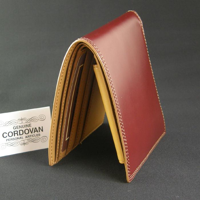 コードバン 2つ折り 財布 CO-3 (カラー:ブラック/チョコ)(小銭入れなし/札入れ付き/カード入れ付き)【送料無料】【楽ギフ_名入れ】