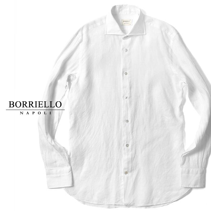 【クリアランス】ボリエッロ BORRIELLO リネンシャツ ホワイト 白 (6114/1) スリムフィット 2018春夏