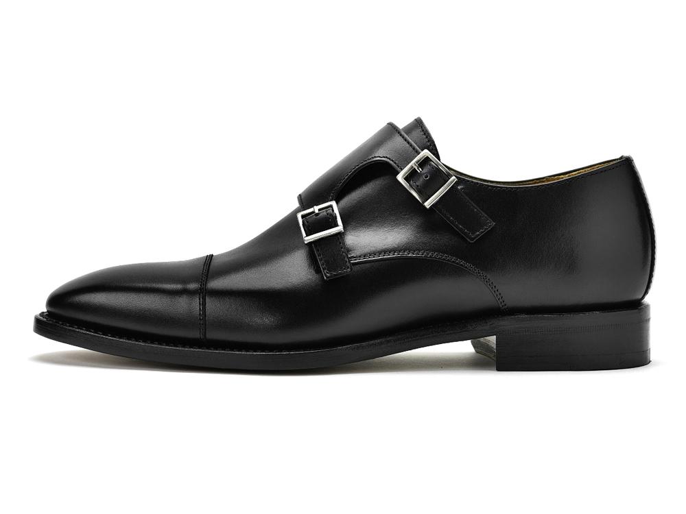 f65a7e665ff7 革靴 ブラック 3637 シューズ ストラップ レザー ダブルモンク NEGRO/ Berwick バーウィック
