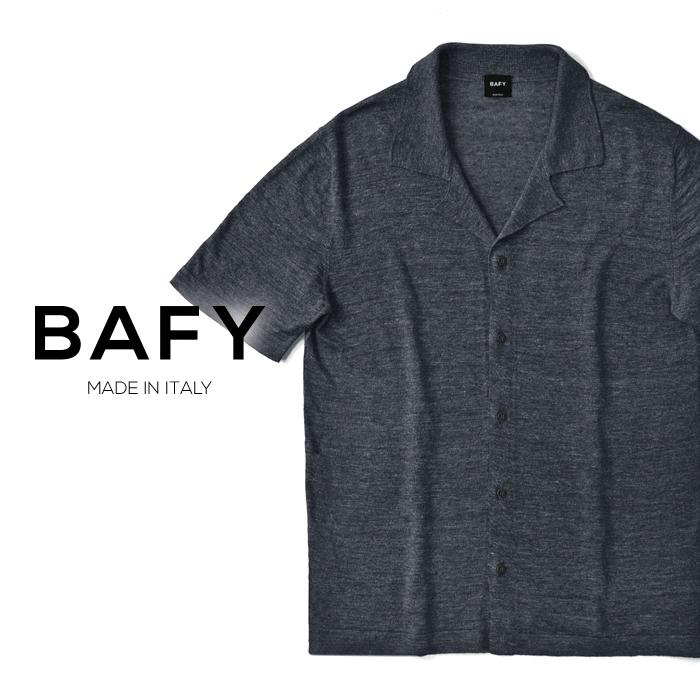【クリアランス】バフィー BAFY オープンカラー ニットシャツ 1302695(30208) メランジェ ネイビー 半袖 開襟シャツ リネン混 2019春夏
