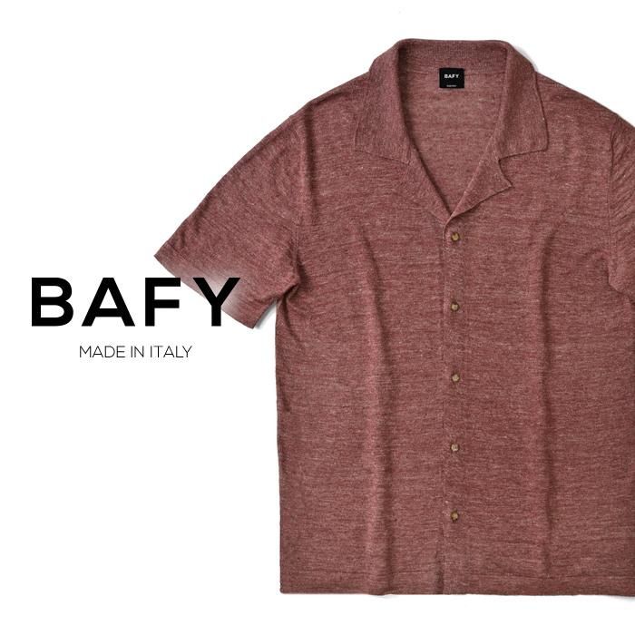 バフィー BAFY オープンカラー ニットシャツ 1302695(30216) メランジェ レッド 半袖 開襟シャツ リネン混 2019春夏