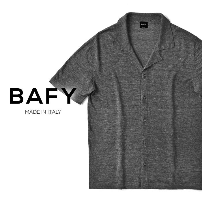 バフィー BAFY オープンカラー ニットシャツ 1302695(30232) メランジェ グレー 半袖 開襟シャツ リネン混 2019春夏