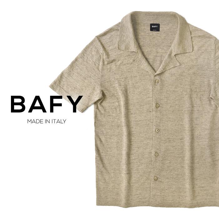バフィー BAFY オープンカラー ニットシャツ 1302695(30211) メランジェ ベージュ 半袖 開襟シャツ リネン混 2019春夏