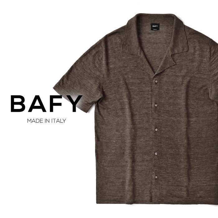 バフィー BAFY オープンカラー ニットシャツ 1302695(30215) メランジェ ダークブラウン 半袖 開襟シャツ リネン混 2019春夏