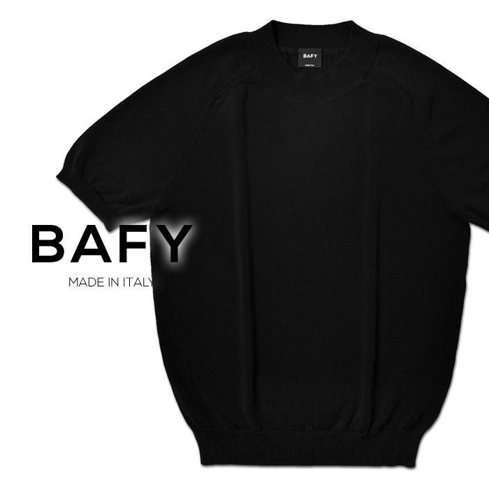 【クリアランス】バフィー BAFY 半袖ニット 1321358(32102) ブラック 黒 ハイゲージ ドライコットン 2020春夏