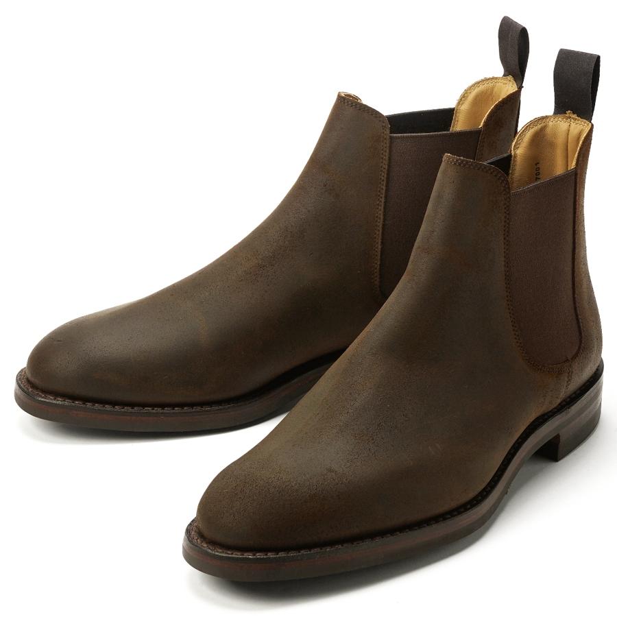 【アウトレット特価】クロケット&ジョーンズ CROCKETT&JONES サイドゴアブーツ CHELSEA-5 ラフアウトスエード ダークブラウン DARK BROWN LAST335 E【メンズ 革靴 ドレスシューズ ビジネスシューズ インポート】:GRANDPERE
