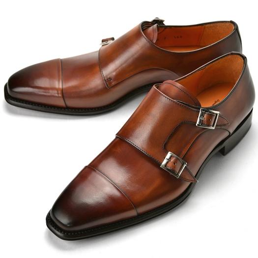 コードウェイナー CORDWAINER ダブルモンクストラップ DANNY ブラウン cuero 【ドレスシューズ 革靴 ビジネスシューズ メンズ インポート】