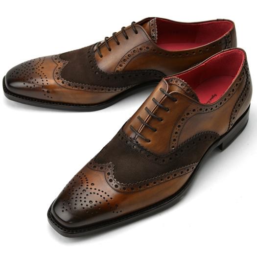 【クリアランス】CORDWAINER コードウェイナー スエード切替 ウイングチップ STRAND ブラウン×ブラウン【ドレスシューズ 革靴 ビジネスシューズ メンズ インポート】