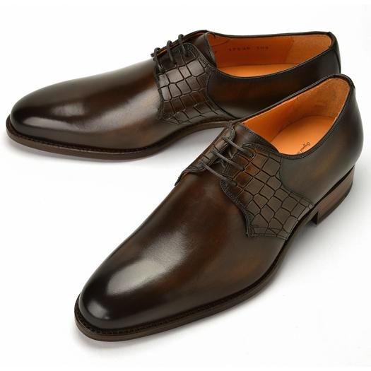 コードウェイナー CORDWAINER 17538 クロコ切替プレーントゥ ダークブラウン【ドレスシューズ 革靴 ビジネスシューズ メンズ インポート】