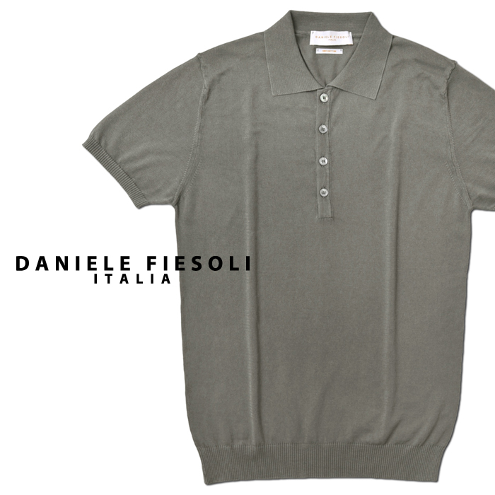 ダニエレフィエゾーリ DANIELE FIESOLI 軽量ドライコットン ニットポロ DF0305(33) グレー ポロシャツ 2020春夏