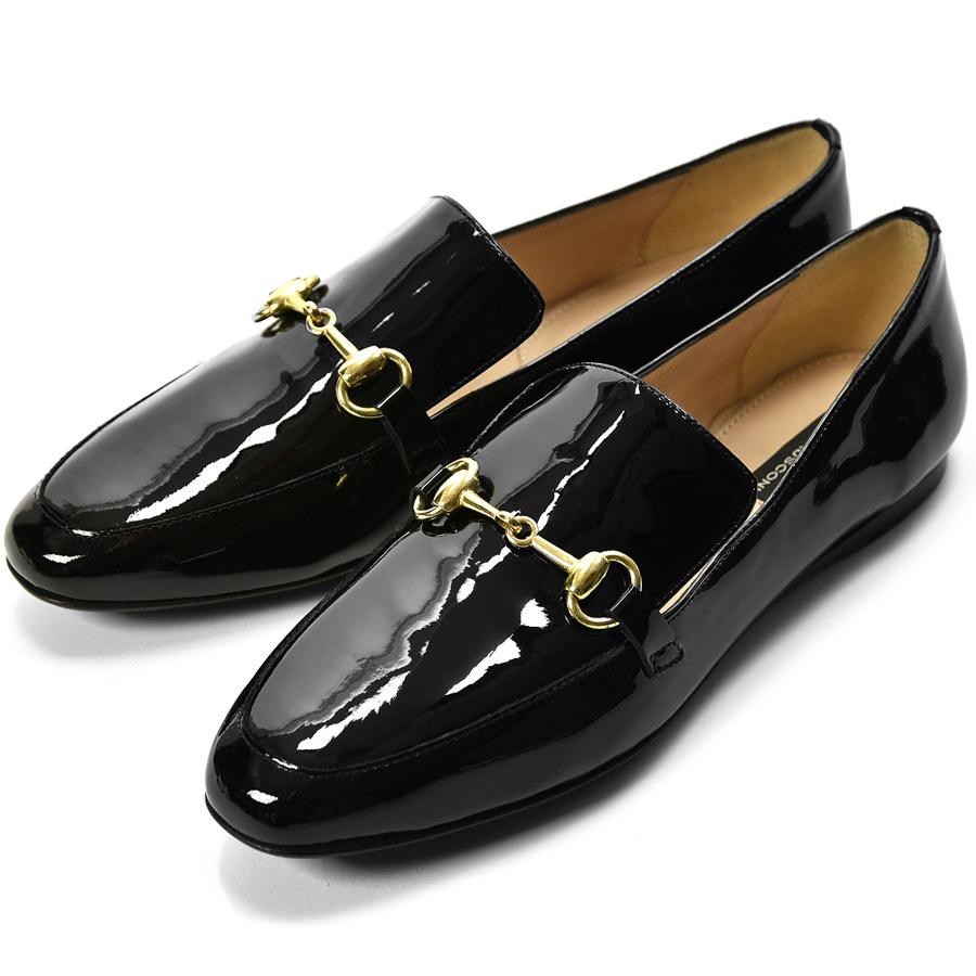 【着用動画あり】イタリアを代表する靴ブランドが贈るローファー ファビオルスコーニ fabio rusconi ローファー 5072 エナメル ブラック フラット レディース ビットローファー