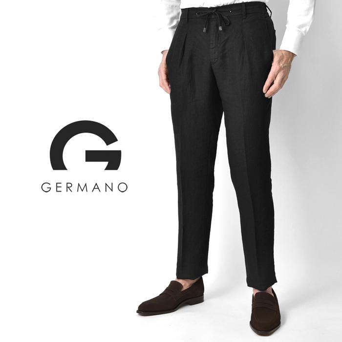 ジェルマーノ GERMANO イージーパンツ チノ リネン 523G-8919(0160) ブラック 1プリーツ スリムフィット ウエストゴム 2020春夏