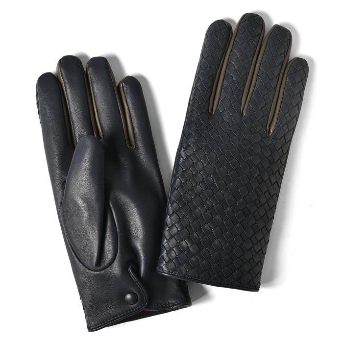グローブス GLOVES 手袋 イントレッチオ カラー切替 ネイビー×グレー CA1662 【本革 グローブ メンズ】【ネコポス対応】