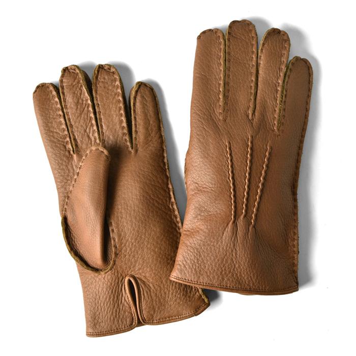 グローブス GLOVES 手袋 レザー ハンドステッチ ライトブラウン CA060 Hand Stitching camel ディアスキン【ネコポス対応】【本革 グローブ メンズ】
