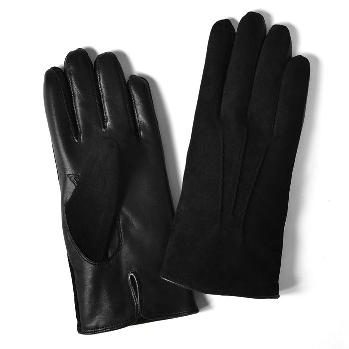 グローブス GLOVES 手袋 スエード&レザー切替 ブラック【メール便対応】【本革 グローブ メンズ】