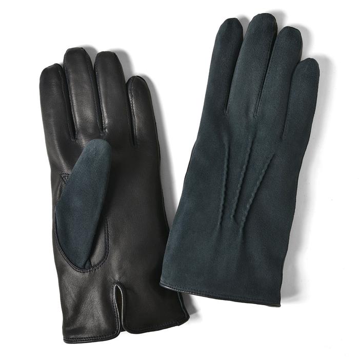 グローブス GLOVES 手袋 スエード&レザー切替 ネイビー【ネコポス対応】【本革 グローブ メンズ】