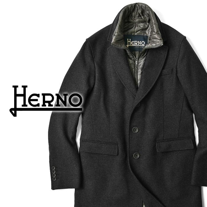 【クリアランス】ヘルノ HERNO チェスターコート CA0045U-9480 ダークグレー 中綿ライナー 2019秋冬【ビジネス メンズ】