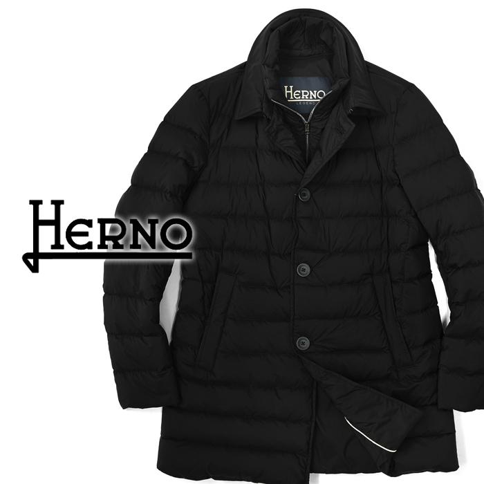 【クリアランス】ヘルノ HERNO ステンカラー ダウンコート ブラック 中綿 PI008ULE(9300) 2018秋冬【ビジネス メンズ】